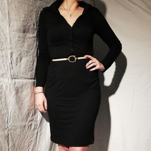 Black button down dress with belt